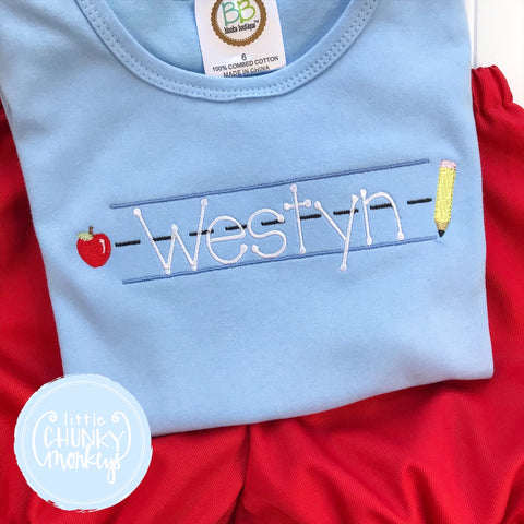 Boy Shirt - Embroidered Back to School on Light Blue Shirt