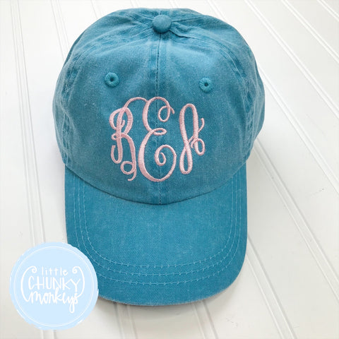 Toddler Kid Hat - Monogram on Turquoise