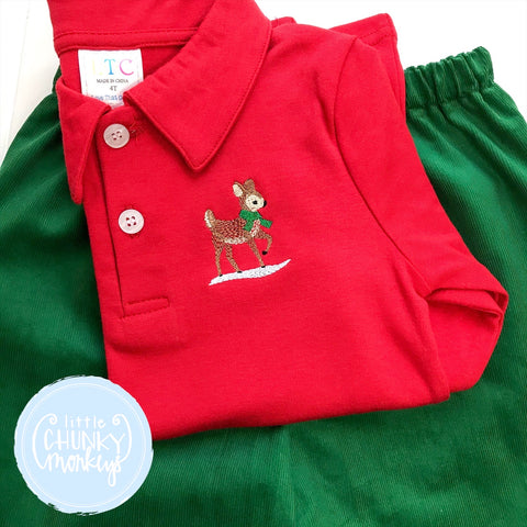 Boy Polo Shirt -  Personalized Polo Shirt with Reindeer