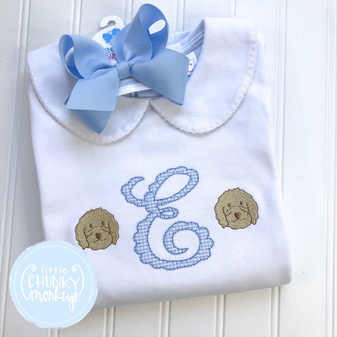 Girl Peter Pan Collar Shirt - Applique Initial with Puppy faces