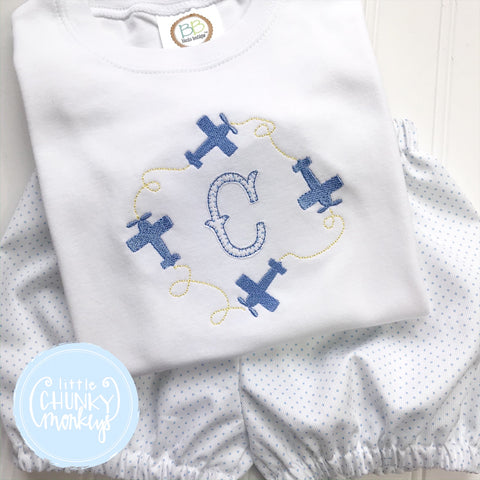 Boy Shirt - Airplane Monogram Frame with Applique Initial