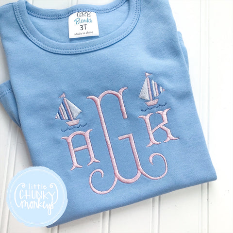 Girl  Shirt - Monogram Tee with Sailboats on Light Blue Shirt