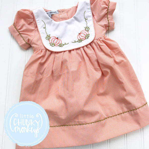 READY TO SHIP - Embroidery Stitch Pumpkin Bib Dress