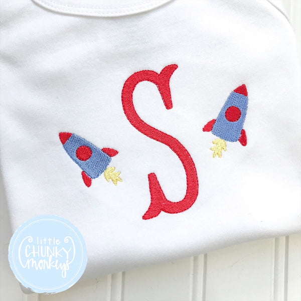 Boy Sun Bubble - Embroidered Initial with Space Rocket on White Sun Bubble