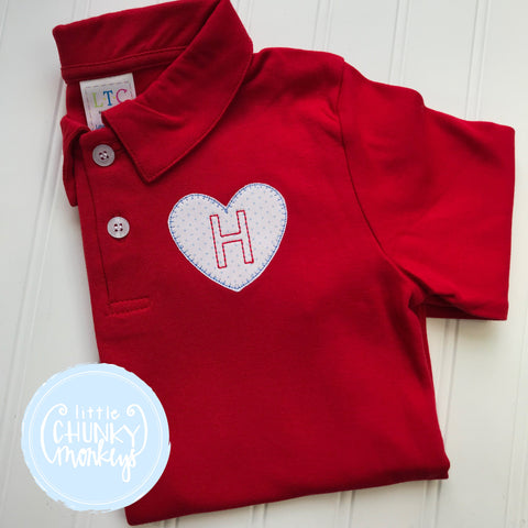 Boy Polo Shirt -  Personalized Polo Shirt with Single Initial and Mini Heart Applique
