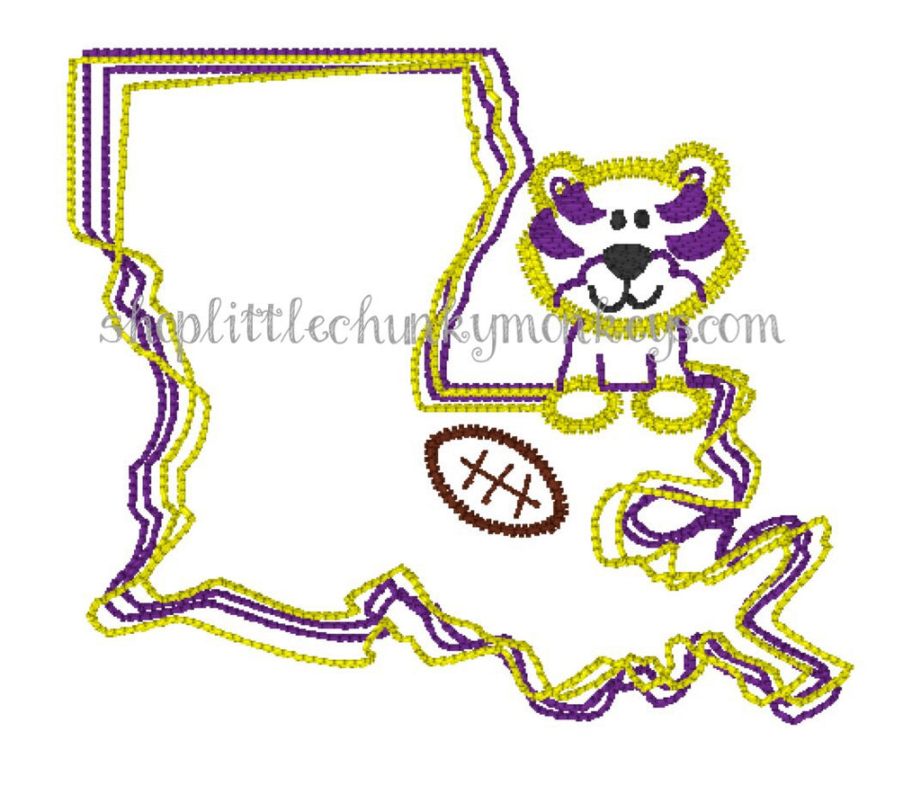 Boy Shirt - Boy Football Shirt - Personalized Stitch Tiger Louisiana State