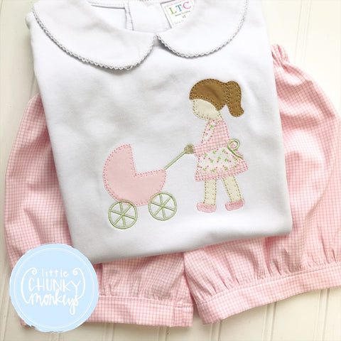 Girl Peter Pan Collar Shirt - Girl Pushing Carriage
