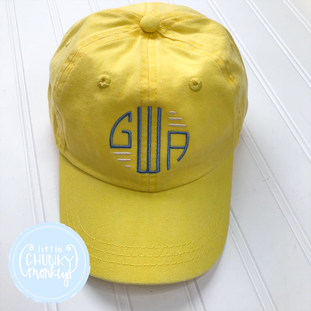 Toddler Kid Hat - Circle Monogram on Yellow Hat
