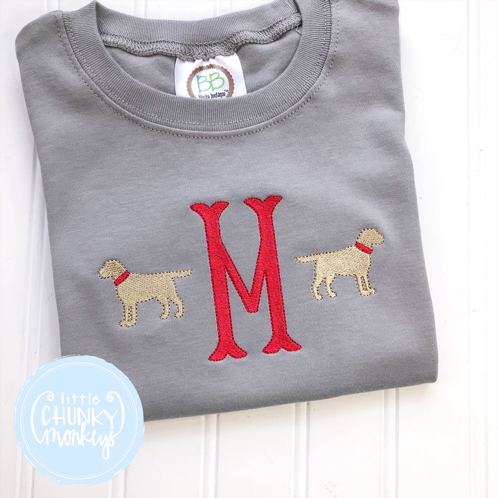 Boy Shirt - Embroidered Initial and Puppies on Charcoal shirt