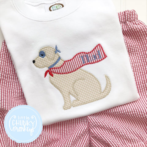 Boy Shirt -Applique Superhero Dog with Name on Cape