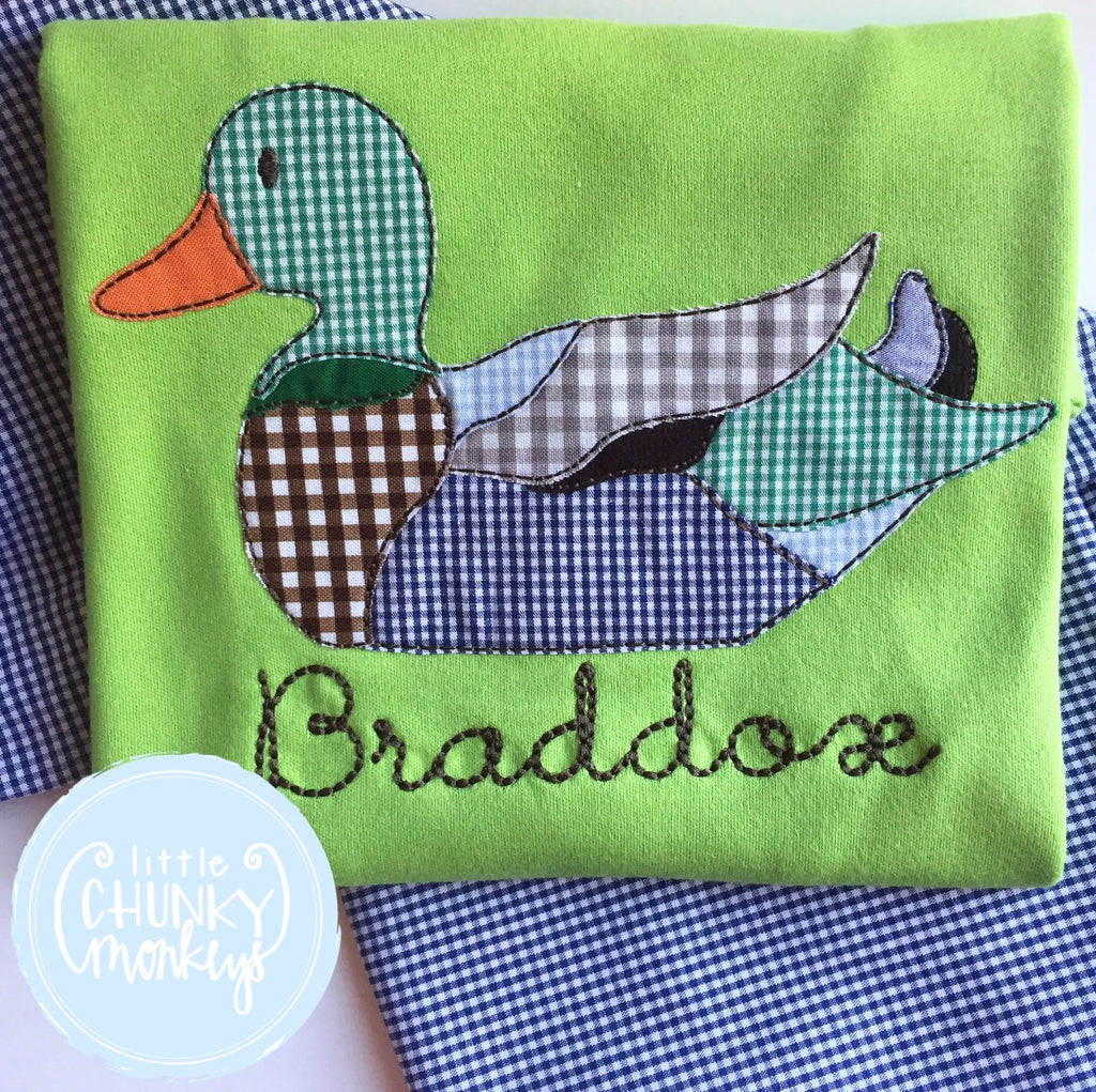 Boy Shirt - Applique Duck with Personalization