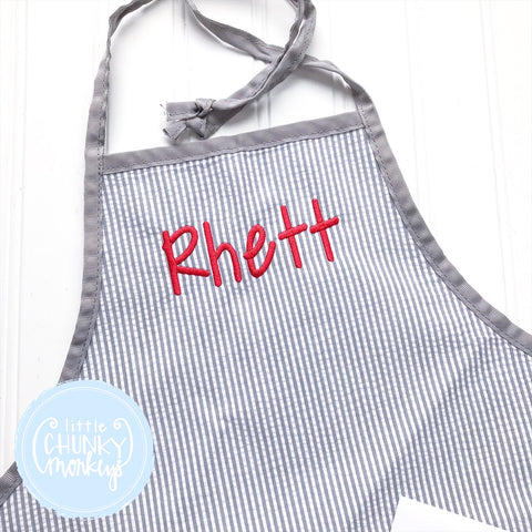 Art Smocks/Apron- Gray Seersucker with Gray Trim and Red Stitched Personalization