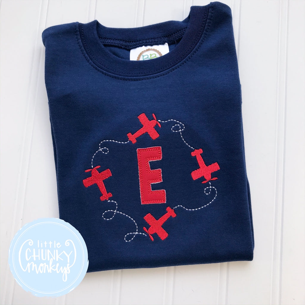 Boy Shirt - Airplanes around Monogram on Navy