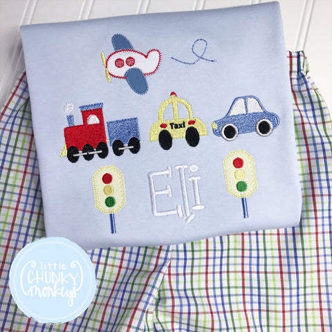 Boy Outfit - Boy Transportation Shirt - Personalized Transportation on Light Blue Shirt