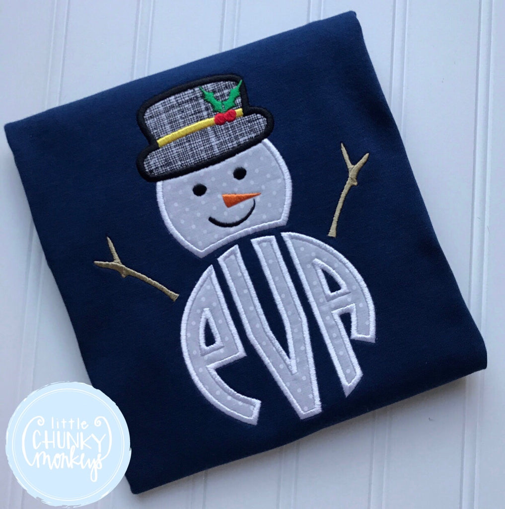 Boy Shirt - Personalized Snowman Applique on Navy Shirt