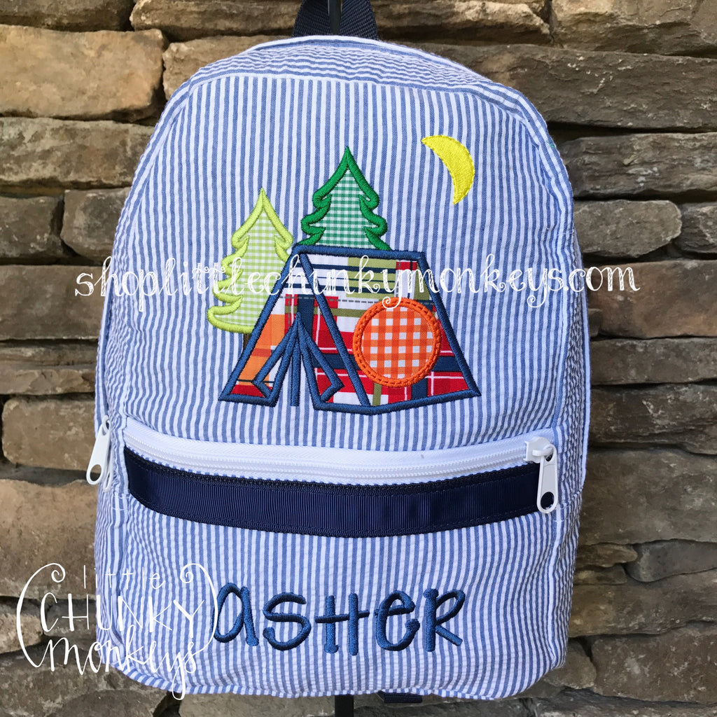 Backpack + Tent Appliqué Design on Navy Seersucker