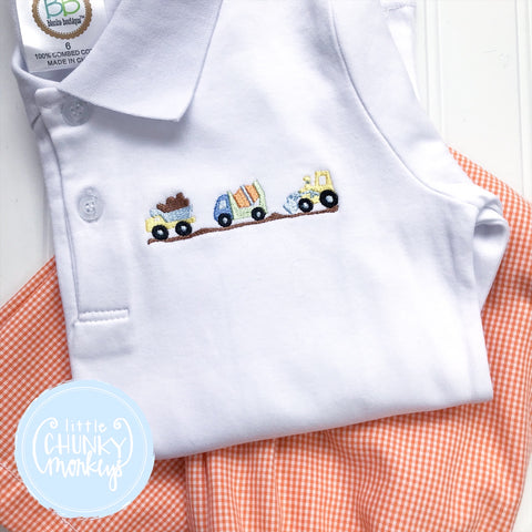 Boy Polo Shirt - Stitched Dump Trucks