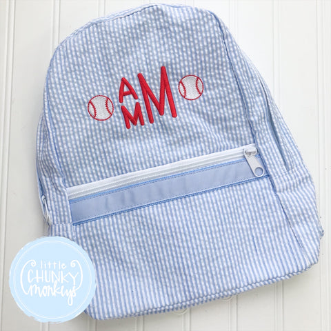 Backpack + Personalization with Baseballs on Light Blue Seersucker