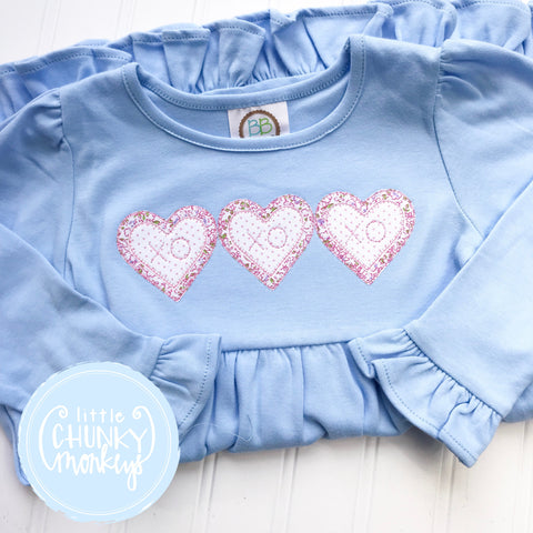 Girl Dress - Heart Trio on Light Blue Dress