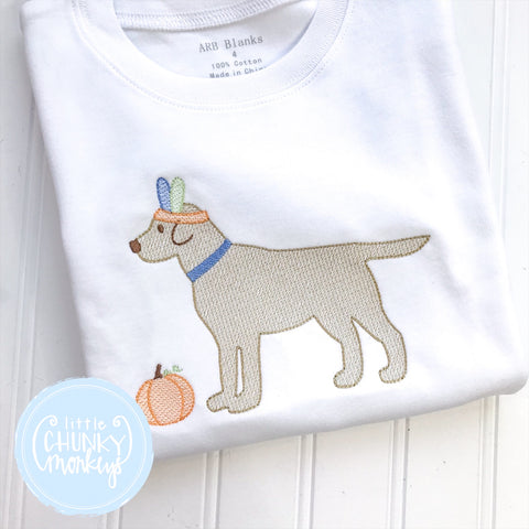 Boy Shirt- Stitched Dog with Feather Headband + Personalization