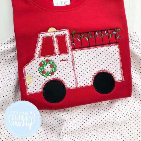 Boy Shirt - Applique Fire Truck with Christmas Tree