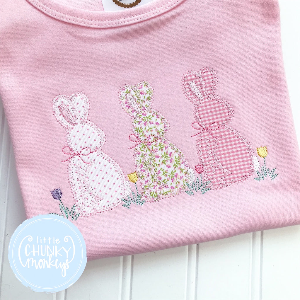 Easter Girl Shirt - Applique Bunny Trio