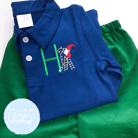 Boy Polo Shirt -  Personalized Polo Shirt with Elf and Lights