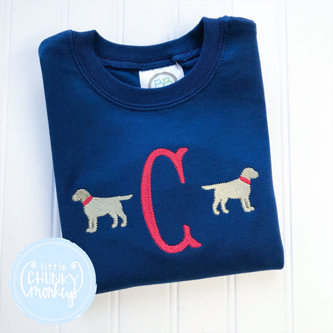 Boy Shirt - Boy Dog Shirt - Personalized Dogs on Navy Shirt