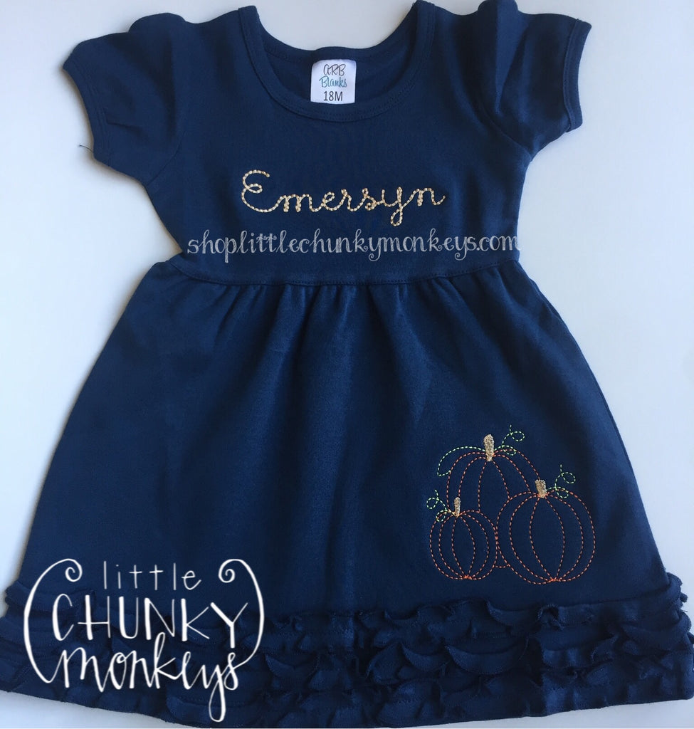 Girl Outfit - Girl Fall Dress - Personalized Vintage Stitch Pumpkin Ruffle Dress