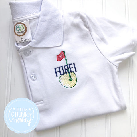 Boy Polo Shirt - Embroidered Golf Hole