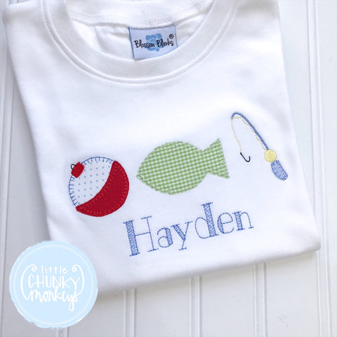 Boy Shirt- Applique Fish Gear on a White Shirt