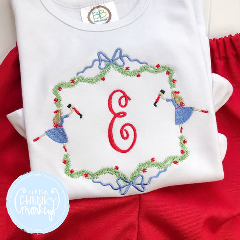 Girl Shirt - Embroidered Nutcracker Circle with Personalization