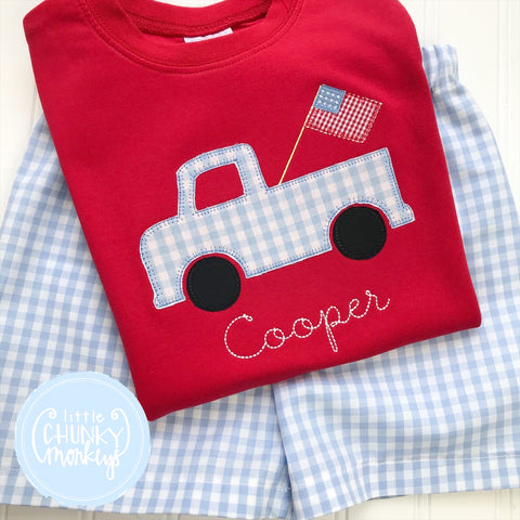 Boy Shirt - Applique patriotic truck with Vintage Stitch personalization on Red Shirt