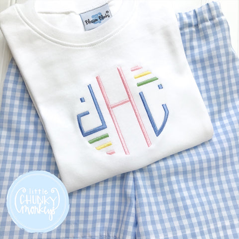 Boy Shirt - Embroidered Monogram on White shirt