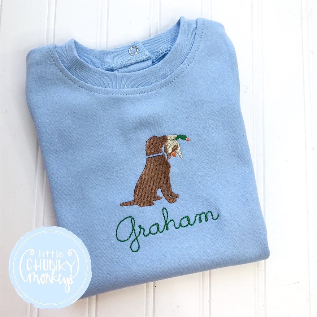 Boy Shirt - Puppy with a Duck on Baby Blue Shirt