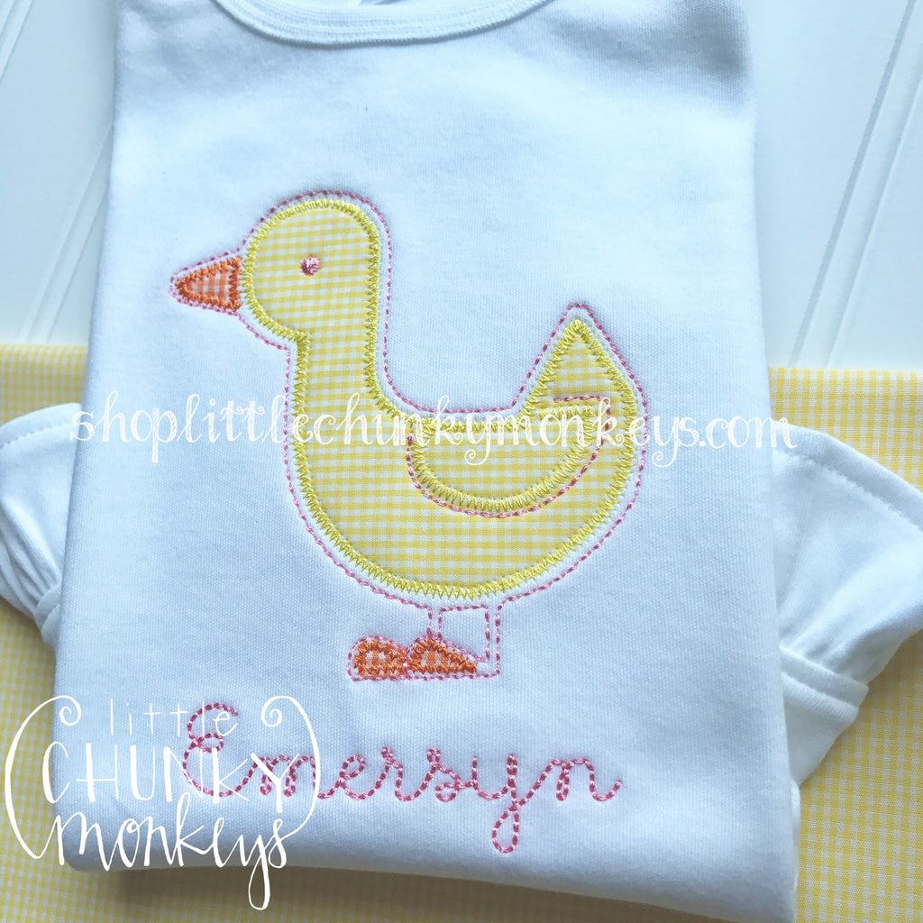 Girl Outfit - Girl Shirt - Duck Applique Shirt