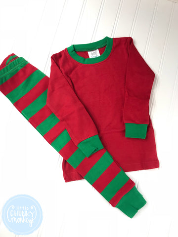 Pajama Set Toddler/Kids - Red Top w/ Red/Green Stripe Bottoms