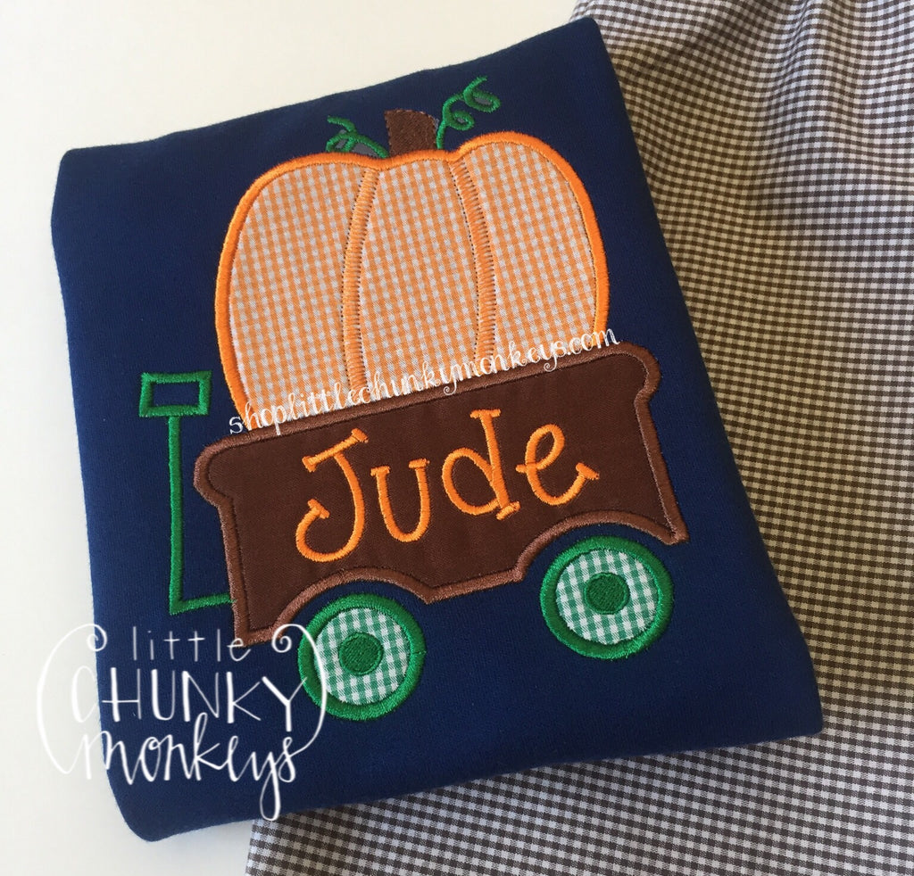Boy Shirt - Boy Fall Shirt - Personalized Pumpkin Wagon on Navy Shirt