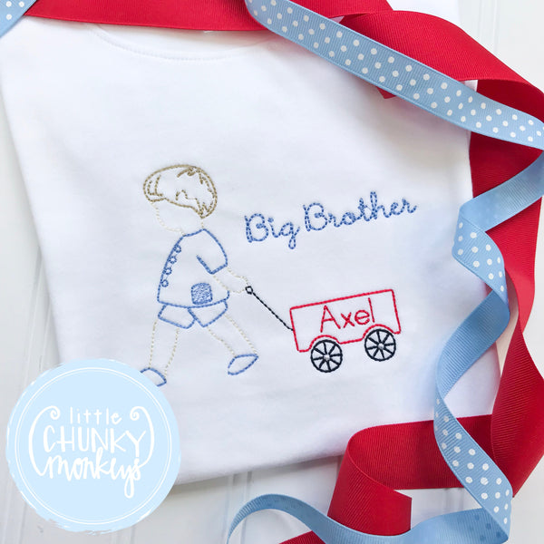Boy Shirt - Big Brother Pulling Wagon