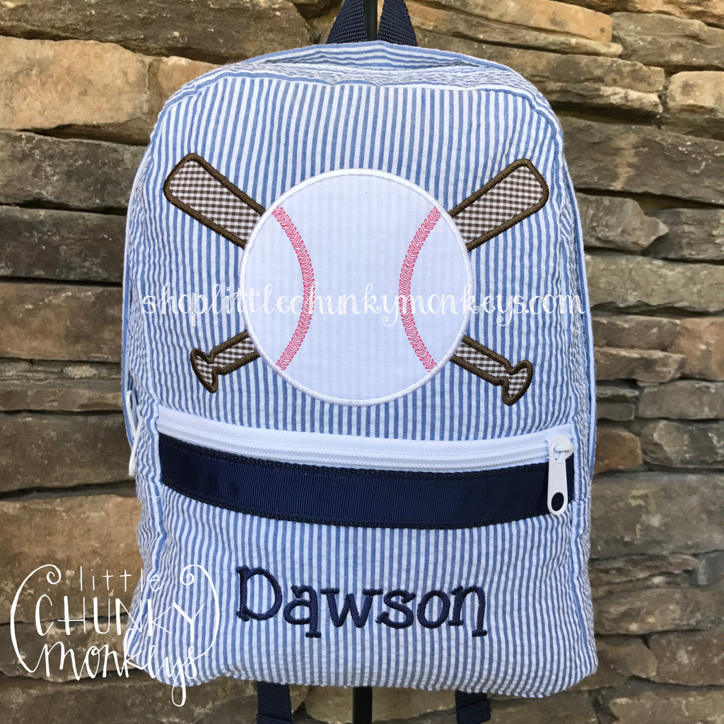 Backpack + Baseball Appliqué Design on Navy Seersucker