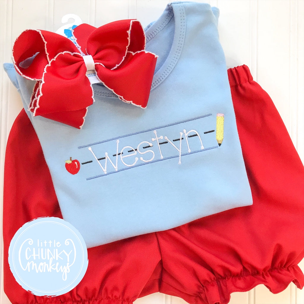 Girl Shirt - Embroidered Back to School on Light Blue Shirt