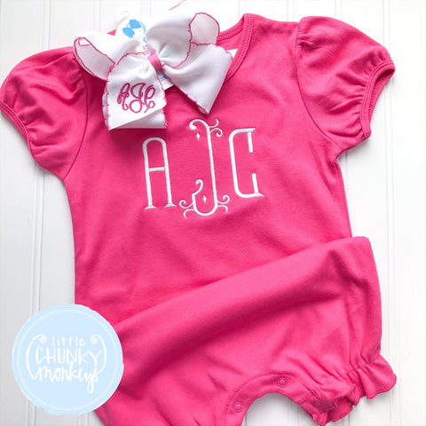 Girl Romper - Hot Pink Romper with Monogram
