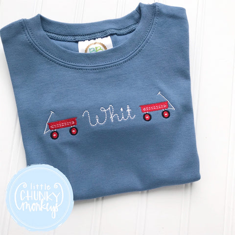 Boy Shirt - Stitched Wagon with Personalization on Blue Shirt
