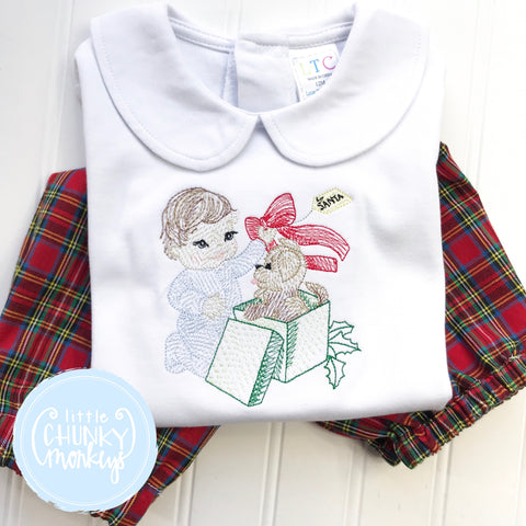 Boy Peter Pan Collar Shirt - Christmas Shirt - Puppy Surprise