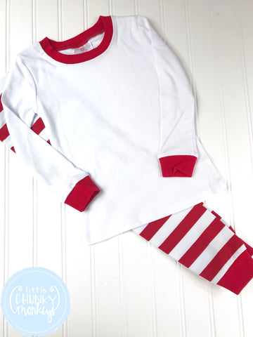 Pajama Set Toddler/Kids - Red Top w/ Red/White Stripe Bottoms