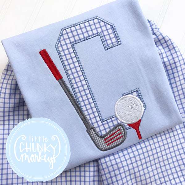 Boy Shirt - Golf Club with Tee and Initial on Light Blue
