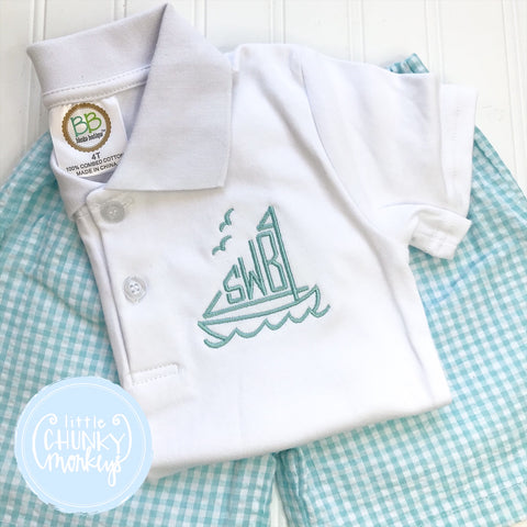 Boy Polo Shirt - Monogram in Sailboat