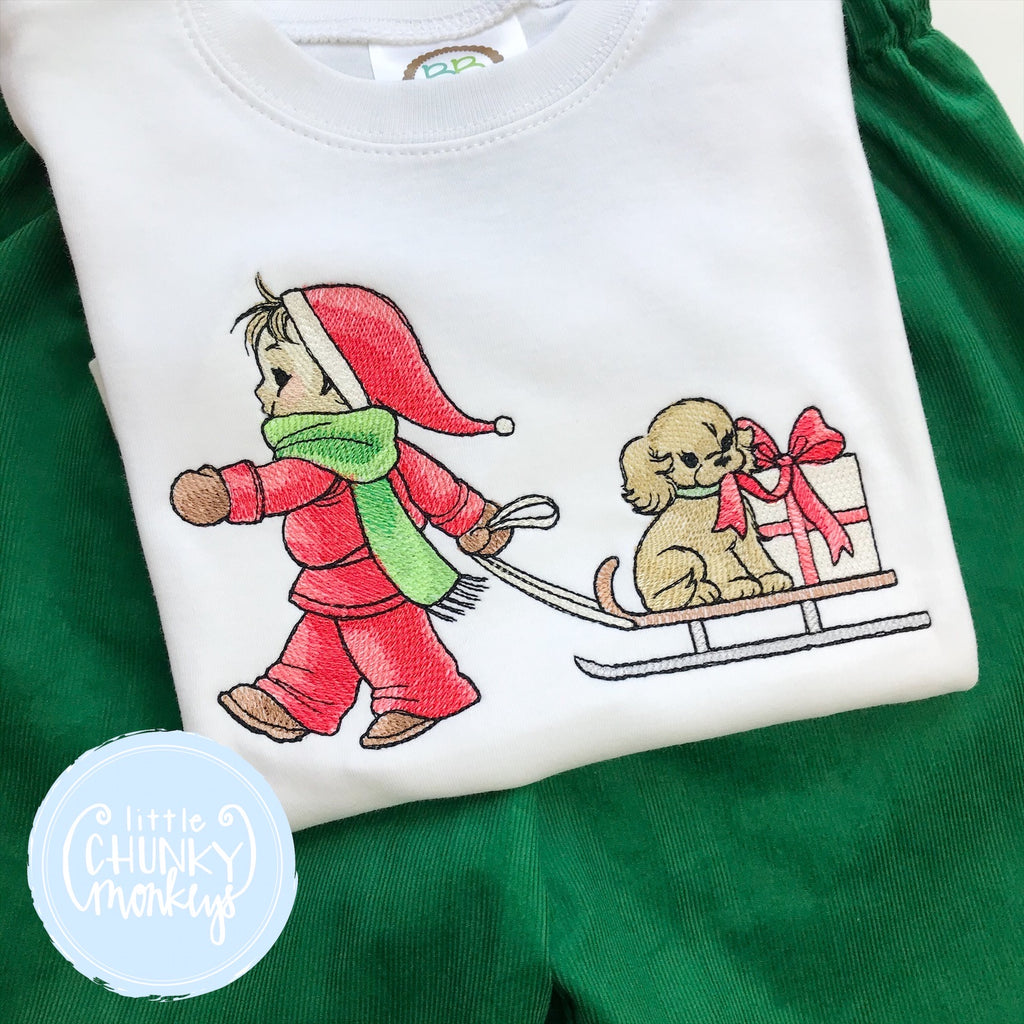 Shirt - Child pulling a dog in a sled