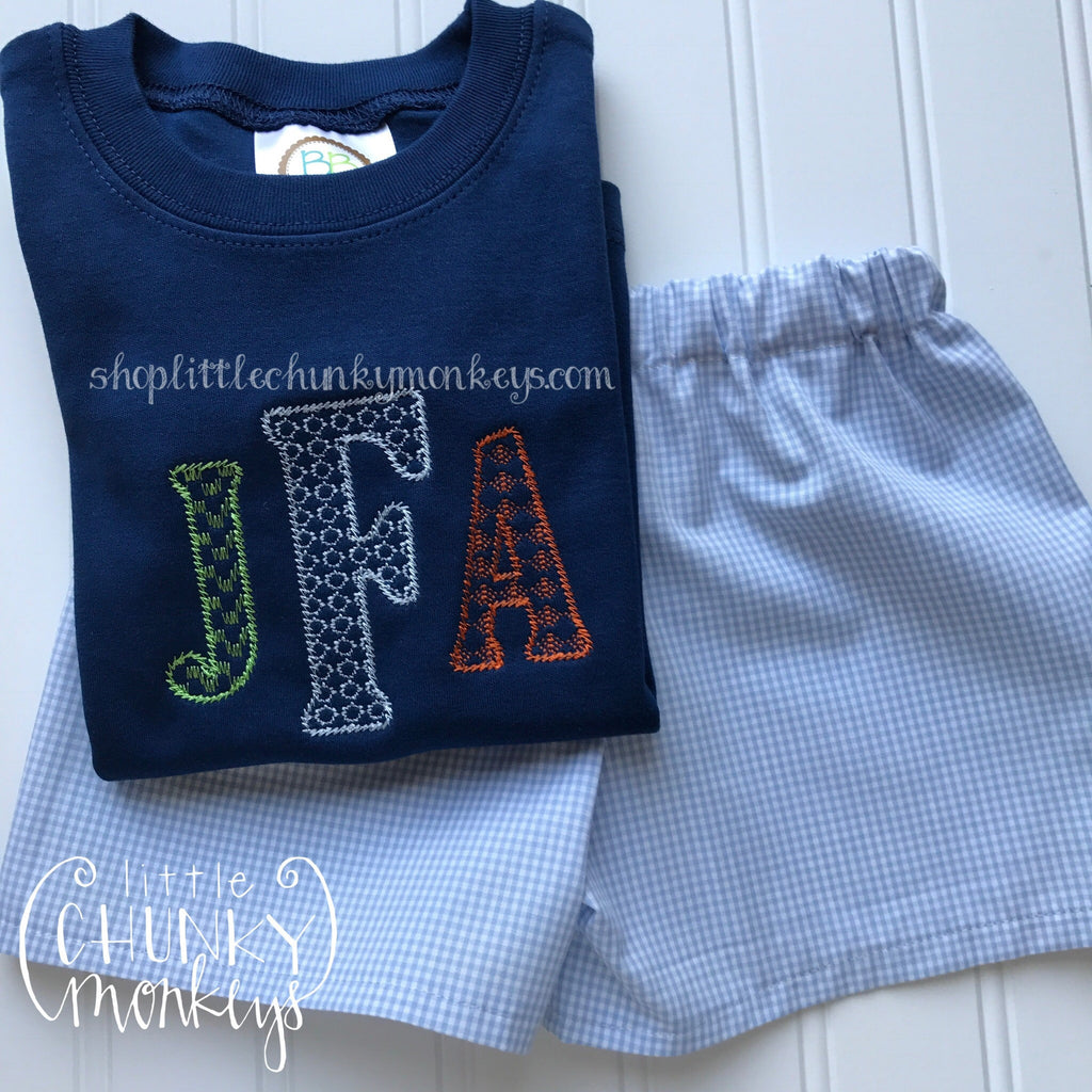 510f97c80fe4 Boy Outfit - Boy Shirt - Personalized Aztec Monogram Tee on Navy Shirt