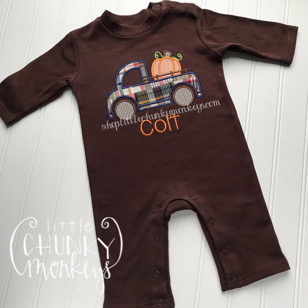 Boy Thanksgiving Romper - Pumpkin Truck Brown Romper